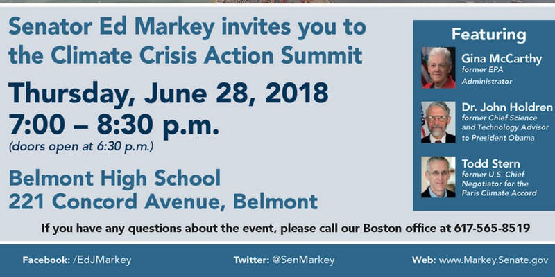 Sen. Markey invites you to Climate Crisis Summit in Belmont